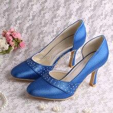 ใหม่เข้ามาปรับแต่งสีฟ้าใสทำด้วยมือรองเท้าเจ้าสาวจัดงานแต่งงานรอบเท้าdropship