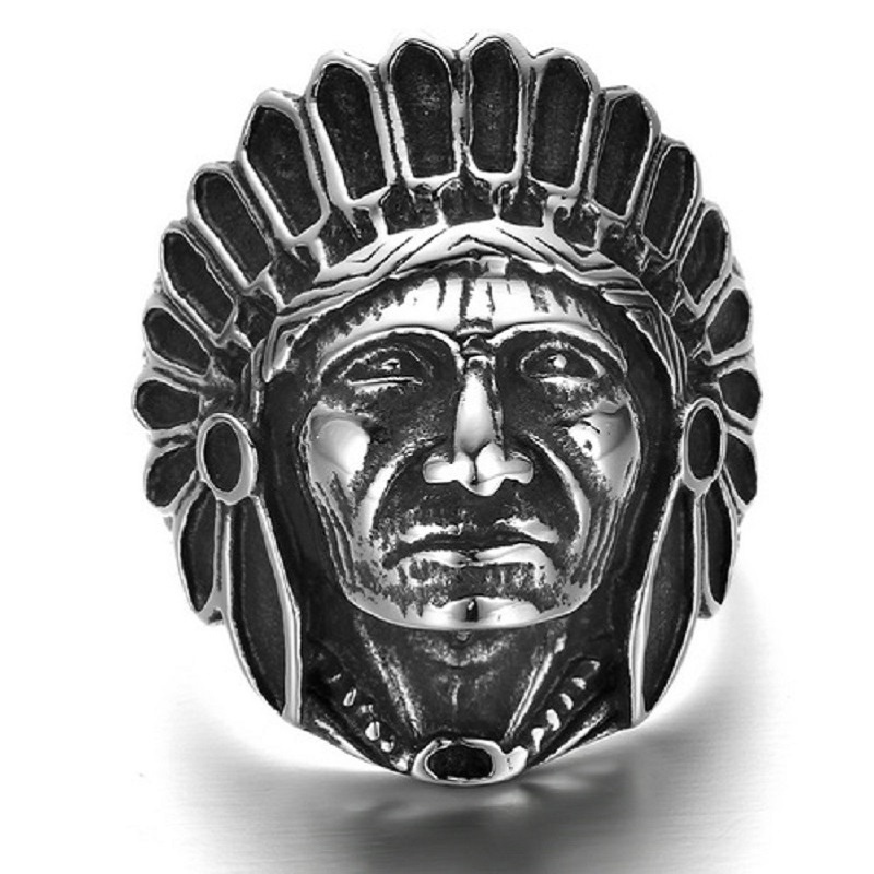 Punk Mens Boys Black Silver Tone Large Apache Indian Chief Head 316L Stainless Steel Ring