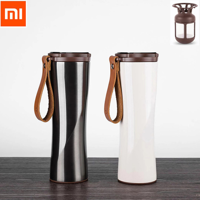 Xiaomi Kiss Kiss Fish Slim Smart Cup 430ml OLED Temperature Screen Protable Stainless Steel Cup with Leather Rope Mug Option Smart Remote Control