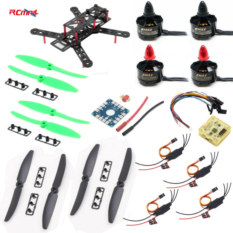 RCmall For QAV250 250mm Quadcopter Pure Carbon Fiber Frame ARF+CC3D Flight Controller EMAX Motor Simonk 12A ESC diy kit DR0717 diy qav250 mini quadcopter rc drone radiolink at9 transmitter cc3d flight controller emax 1806 motor simonk esc drones