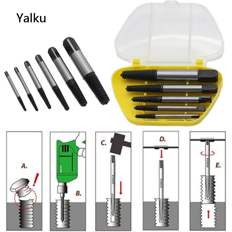 Yalku Drill Bits Damaged Broken Breakang Head Screw Bolts Extrat Extrator Remover Power Tool Set Screw Extractor Wood Drilling