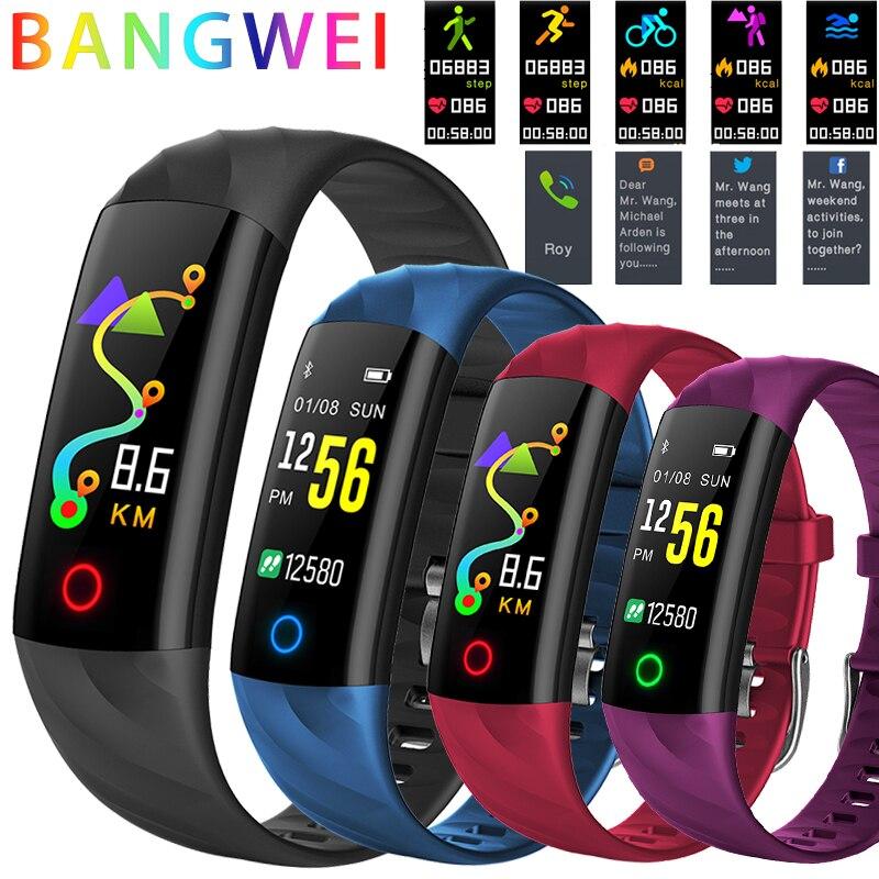 BANGWEI Mulheres Relógio Inteligente Homens IP68 Smartwatch À Prova D' Água Esporte rastreador De Fitness Multifuncional Cor LED Toque Watch Montre homm