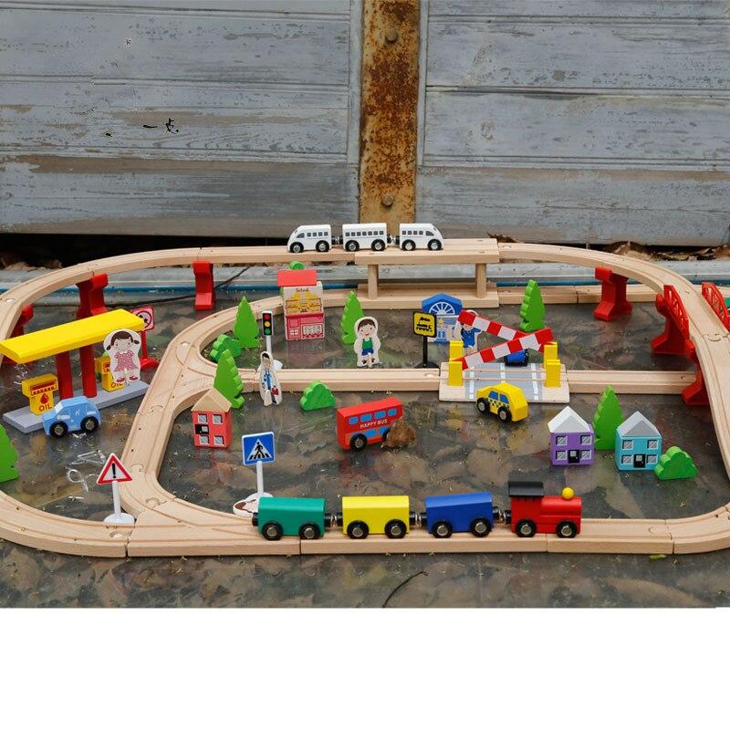 100 pcs Train En Bois Piste Ensemble En Bois Puzzle Bâtiment Train Miniature Assemblé Voie Ferrée Jouets Cadeaux pour Enfants Montessori Jouets