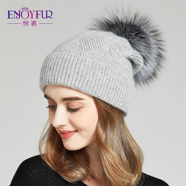 ENJOYFUR Шапка женская зимние Природные меха шляпы с помпоном Теплые шерсти Вязаняя шапка для женщины девушки Моды шапка женская 2018