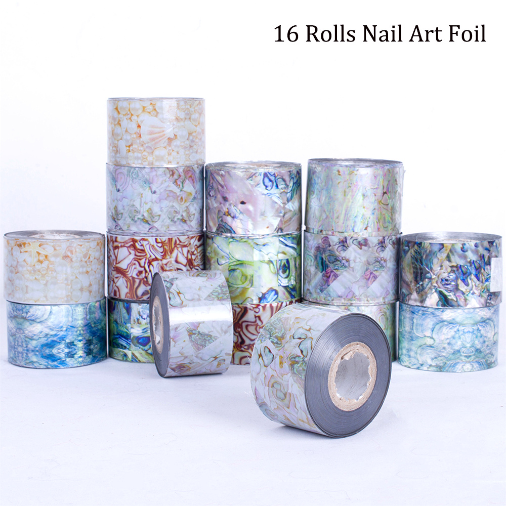 16 Rolls 120m Water Transfer Marble Stone Rock Nail Wraps Sticker Manicure Decals Nail Foil Sticker
