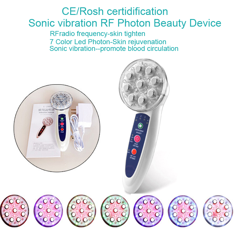 4 IN 1 Sonic Vibration RF Radio Frequency Skin Tighten Led Photon Therapy Skin Rejuvenation Acne Treatment Beauty Device mini portable usb rechargeable ems rf radio frequency skin stimulation lifting tightening led photon rejuvenation beauty device