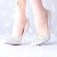 Blanc De Mariée En Satin De Mariée Chaussures Argent Cristal Bout Pointu Plate-Forme Chaussures Pageant Parti Pompes Mère de La Mariée Chaussures