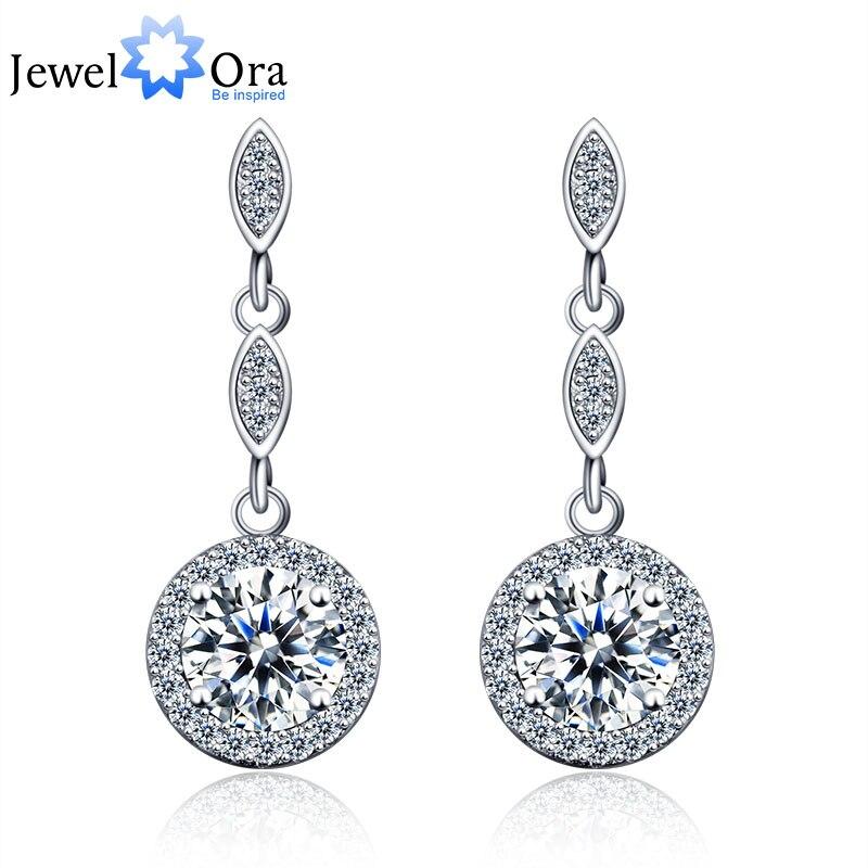 2cfa61c8b395b Wedding Accessories 925 Sterling Silver Long Earring Cubic Zirconia Fashion  Drop Earrings For Women (JewelOra EA101642)-in Drop Earrings from Jewelry    ...