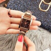2019 Top Brand Luxury Women Watches Rose Gold Rectangle Woman Watches Diamond Quartz Ladies Wrist Watches Clock Relogio Feminino