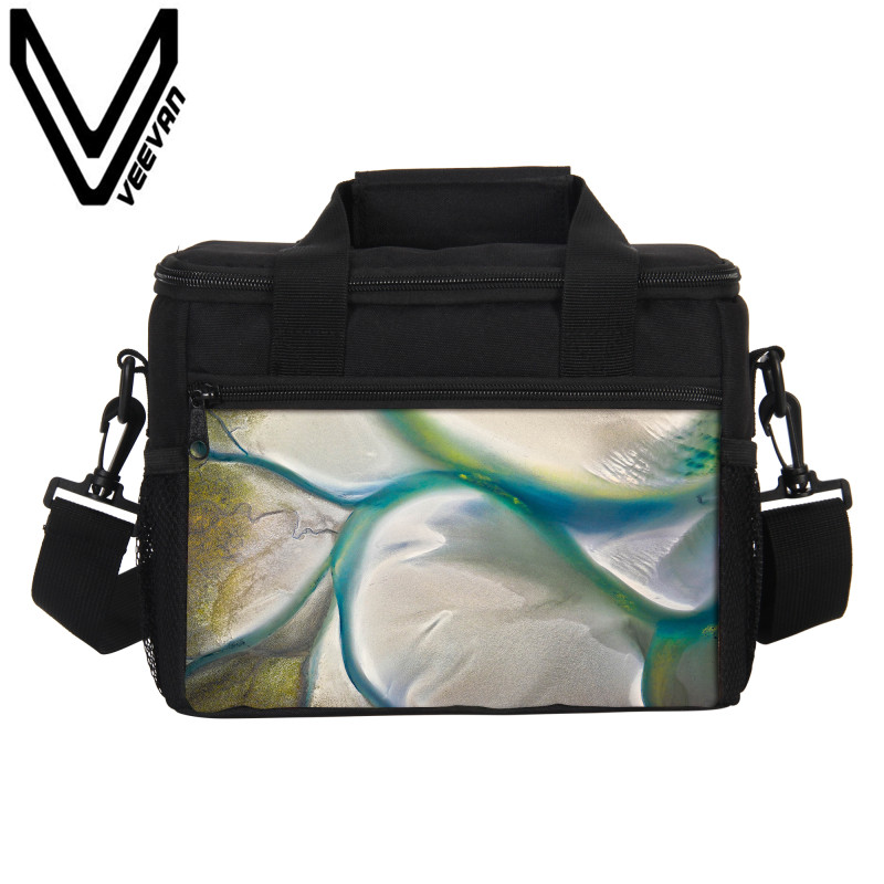 VEEVANV Brand 2017 Geographic Aerial Photography Lunch Boxs 3D PU Prints Food Thermal Bags for Women PU Lunch Picnic Cooler Bags