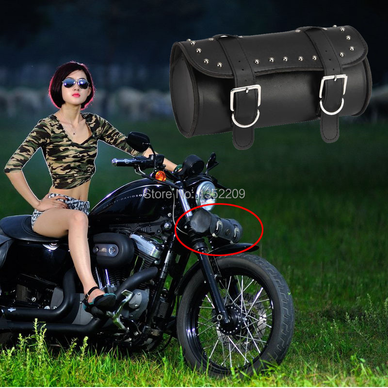 PU Front Fork Tool Bag Luggage SaddleBag For Harley