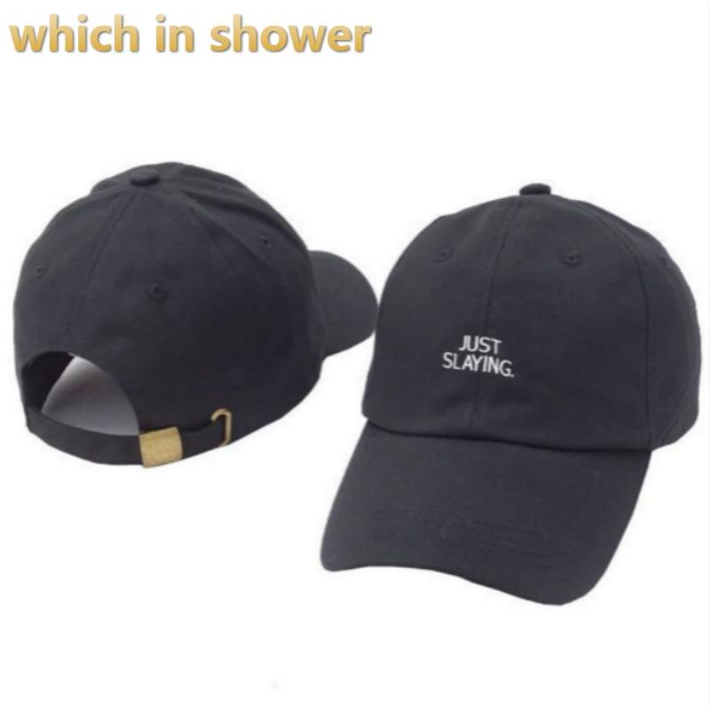 Embroidery JUST SLAYING Dad Hat For Women Men Baseball Cap Hip Hop Male The Rapper Snapback Hat Cap K pop Trucker Bone Gorras bone para bordar