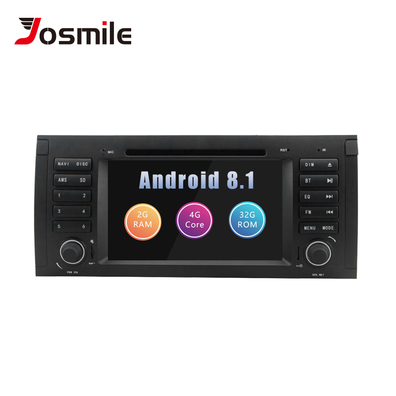 Josmlie 1 Din Android 8.1 Car DVD Player For BMW E39 BMW X5 E53 M5 Multimedia Radio GPS Navigation Audio Head Unit 2002-2007 4G
