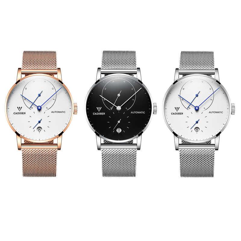 CADISEN رجال كبار الساعات العلامة التجارية الفاخرة التلقائي تاريخ الرجال عارضة الأزياء ساعة للماء الميكانيكية الفولاذ المقاوم للصدأ ساعة معصم