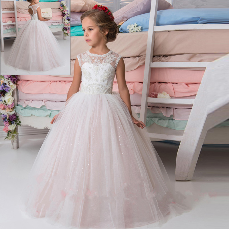 Children Gowns For Wedding: New Pink Puffy Flower Girl Dresses For Wedding Ball Gown