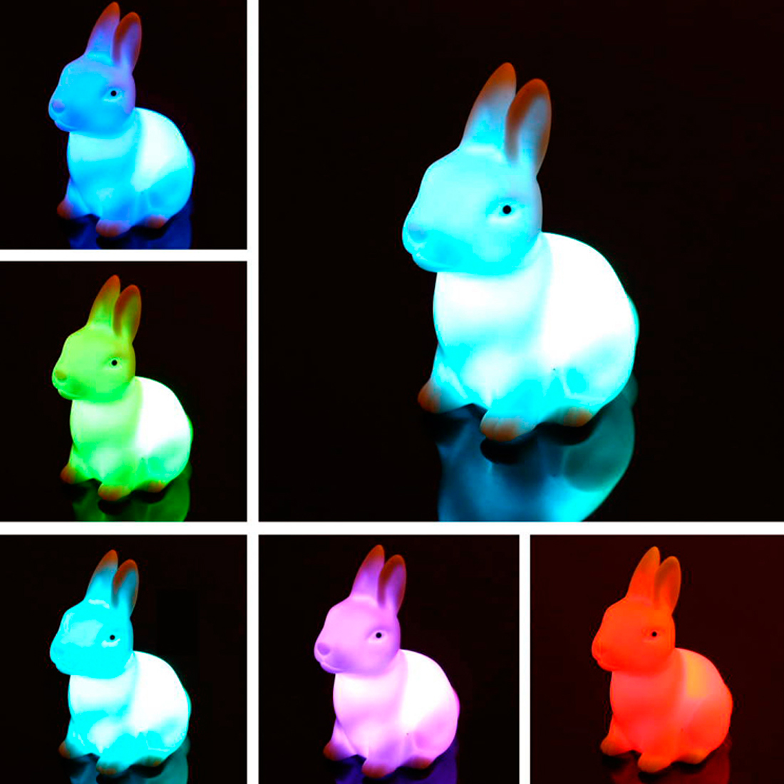 Rabbit Lamp Creative Novelty Children Kid Favor Gift Toy Cartoon Animal Rabbit Sleep LED Table Night Light Color Changing