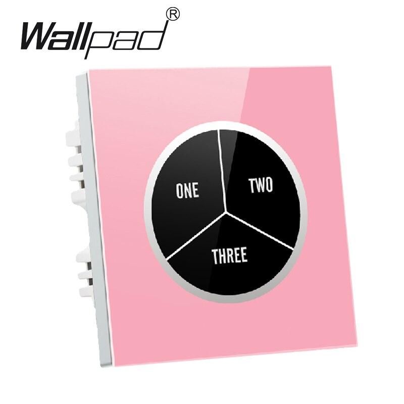 Verre trempé haut de gamme 3 gangs 2 voies rose étanche tactile interrupteur mural 110 V ~ 250 V Design gratuit interrupteur mural tactile