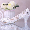 Koovan Wedding Shoes 2017 New Fashion Low Heel Bridal Shoes Women Crystal Diamond Pearl Flowers Pointed Leather Shoes Pumps