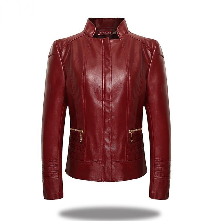 2018 New Fashion Women   Leather   Jacket Long Sleeve Slim PU Faux   Leather   Soft Jacket Blazer Red Plus Size Women Coat