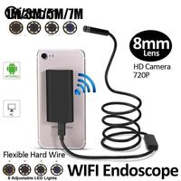 8mm 720P 8LED 7M WiFi Endoscope Waterproof Borescope Tube Inspection Video Mini Micro Camera For Android
