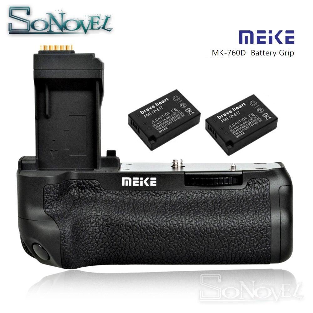 MEIKE MK-760D verticale Batterie support de prise en main pour Canon EOS 750D 760D Rebelles T6i T6s comme BG-E18 Remplacement avec 2 ps LP-E17 Batteries