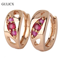 GULICX 2016 New Fashion Piercing Earring  Gold Plated Hoop Earring Red Crystal Cubic Zirconia Earing For Women Jewelry E312