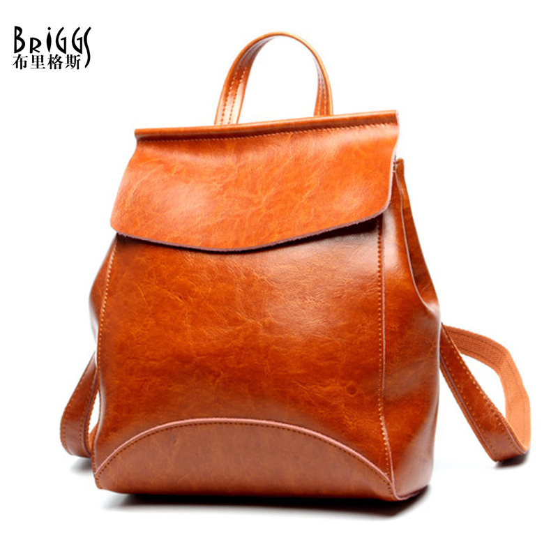 купить BRIGGS Famous Brand Women Backpack Vintage Genuine Leather Double Shoulder Bag Student School Bags Backpacks For Teenage girls по цене 2580.51 рублей