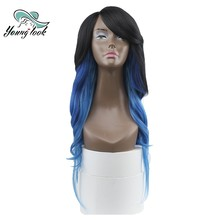 YOUNG LOOK Kanekalon Synthetic Wig DXR1433 Omber Blue Free Shipping 26'' Natural Wave High Temp Fiber Invisible Skin Lace Front(China)