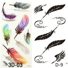 2PCS 3D Colorful Feathers Tattoos On Body Art Chest Shoulder Finger Stickers Glitter Temporary Tattoos Removal Fake Small Feath
