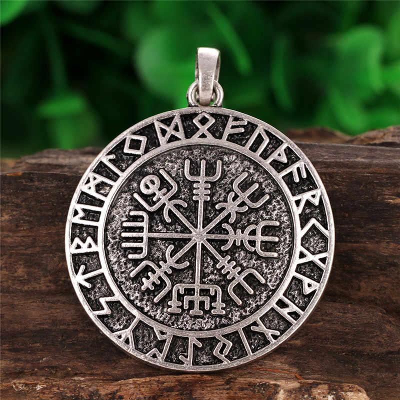 Vegvizir La Bàn Charm Mặt Dây Chuyền Chữ Rune Vòng Tròn Norse Viking Bùa Hộ Mạng Bùa Hộ Mệnh Mặt Dây Chuyền