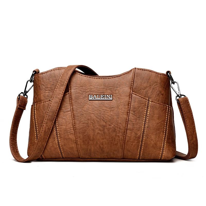 Women\'S Genuine Leather Handbags Vintage Patchwork Shoulder Crossbody Bags Ladies Messenger Bags Women Bags
