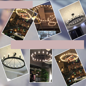Image 4 - Samurai chandelier American iron art retro industrial wind LOFT restaurant bar clothing store double circle candle chandelier
