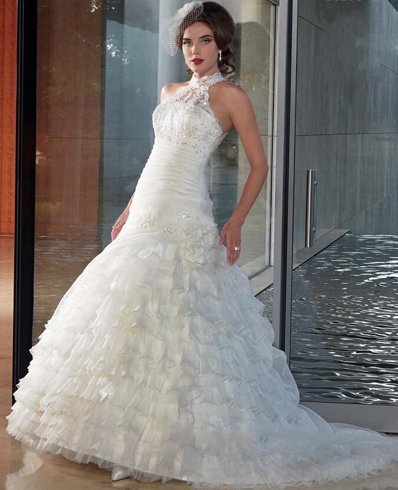 Long Halter Organza Mermaid Wedding Dresses Ruched ...Backless Halter Wedding Dresses