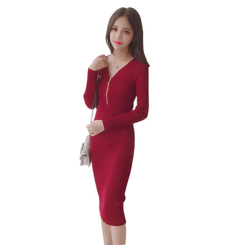 2018 Korean Women Warm Knitted Sweater Dress Spring Autumn Female Half V collar Long Sleeve Sexy Bodycon Dresses Knitwear