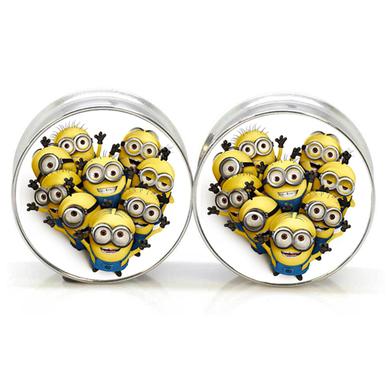 1 pair plugs stainless steel Minions logo double flare ear plug gauges tunnel body piercing jewelry PSP0028