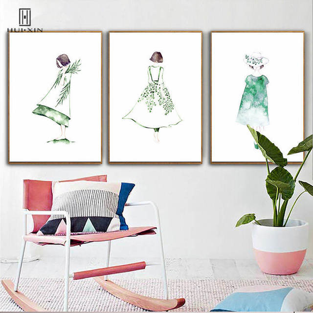 Minimalist Unframed Painting View Of Girl's Back Decorative Canvas Posters On Wall Art Print For Home Bedroom Living Room Decor