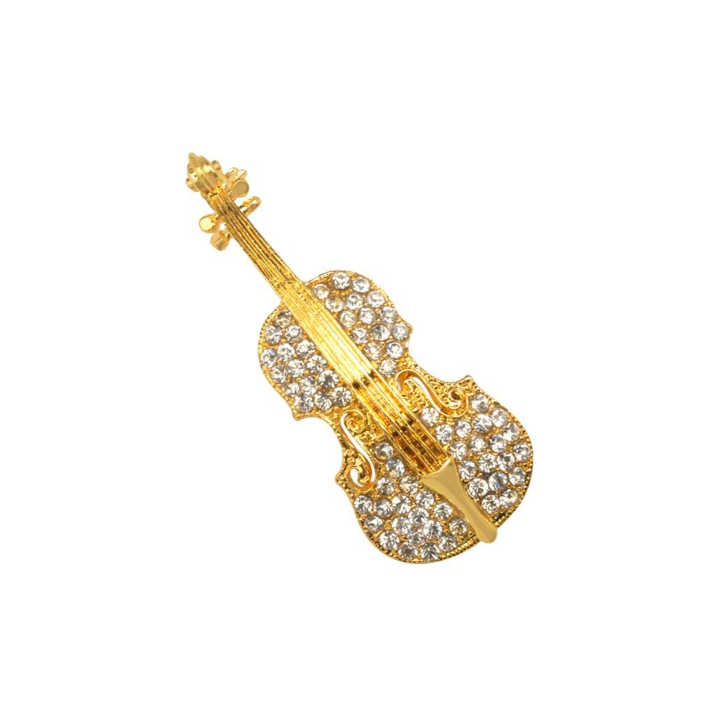 Broschen Violine mit Kristallsteinen Brooch Pin