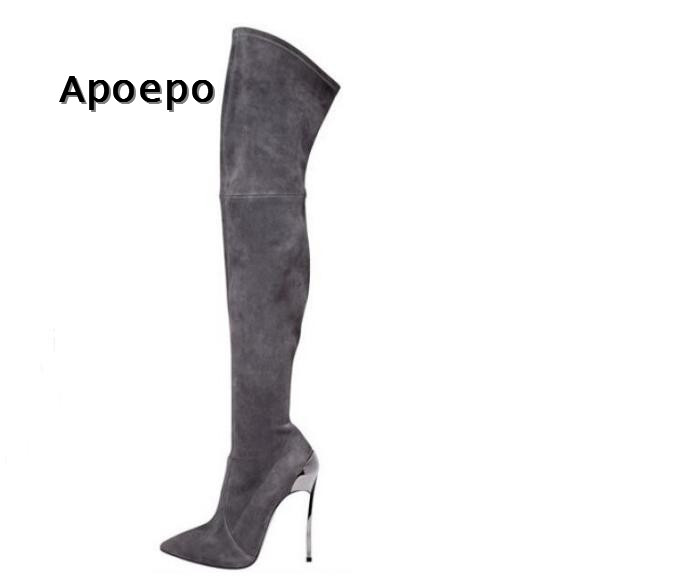 цена на Apoepo High Heel Boots for Woman Grey Suede Thin Heels Over the Knee Boots Sexy Pointed Toe Long Boots Thin Heels Boots