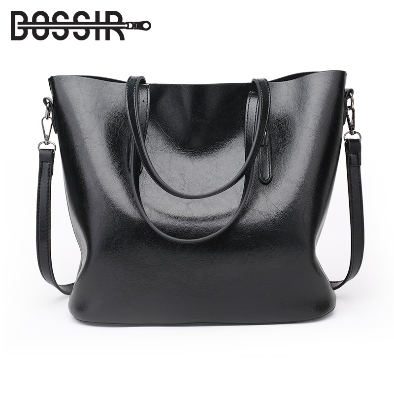 Women Shoulder Bags Fashion Handbag Oil Wax PU Leather Large Capacity Tote Bag Casual Women Messenger Bags bogesi new 2018 fashion women handbag pu oil wax leather women bag large capacity tote bag big ladies shoulder bags famous