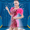 Mulheres Poliéster Hanfu Roupa Feminina Traje Feminino Dança Jazz Penas Sexy Paillette Ds Trajes