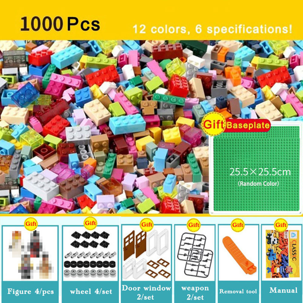 1000pcs Bricks Designer Creative Classic Brick DIY Building Block Educational Toys Bulk For Children Gift Compatible LegoINGlys