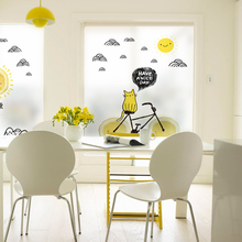 Free Customized Stained Static Cling Window Film Frosted Privacy Glass Sticker Home Decor Digital print BLT1188 Hello Sunshine