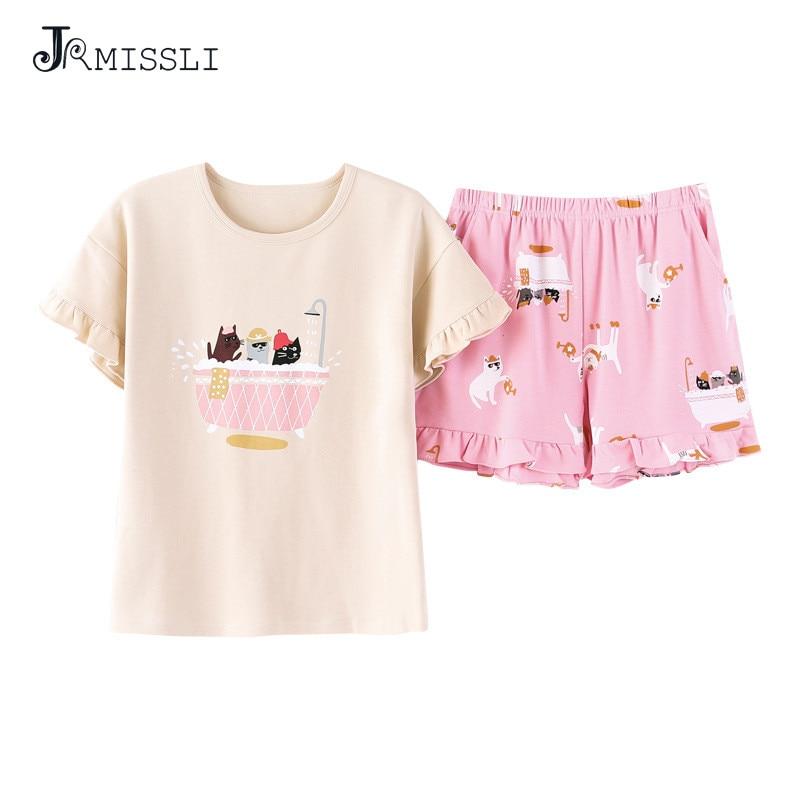 JRMISSLI Cartoon Pajama Set Women Print 2 Pieces Set Crop Top Shorts Elastic Waist Pajamas Loose Home Wear Lounge pyjamas BS2037