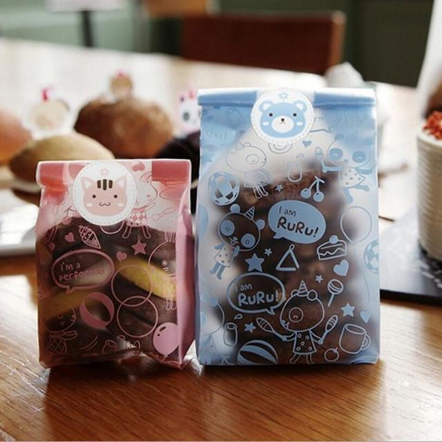 50pcs/lot Plastic Biscuit Cookie Bags Baking Packs Plastique Cute Bear Rabbit  Pattern Packaging for Cookie Party decoration bag