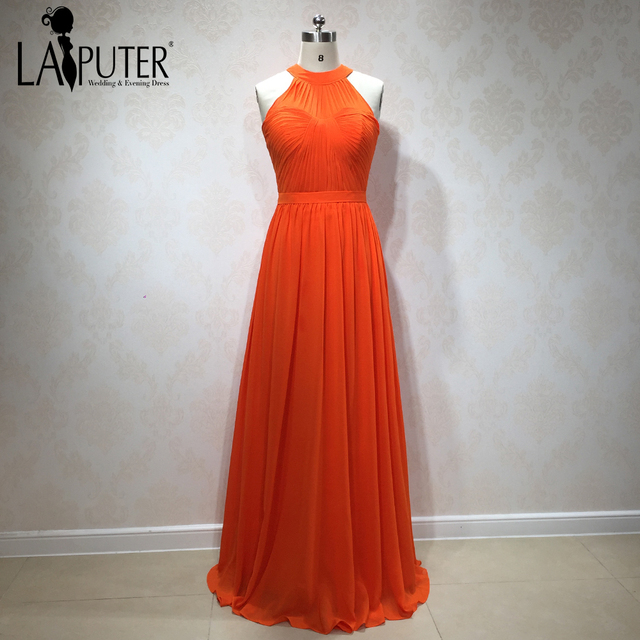 2018 New Arrival Orange Chiffon Long Elegant Cheap Plus Size
