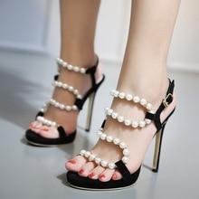 2016 Luxury Pearl Decorated High heeled Sandals Beaded Women s Open Toe Stiletto Heels Black Office