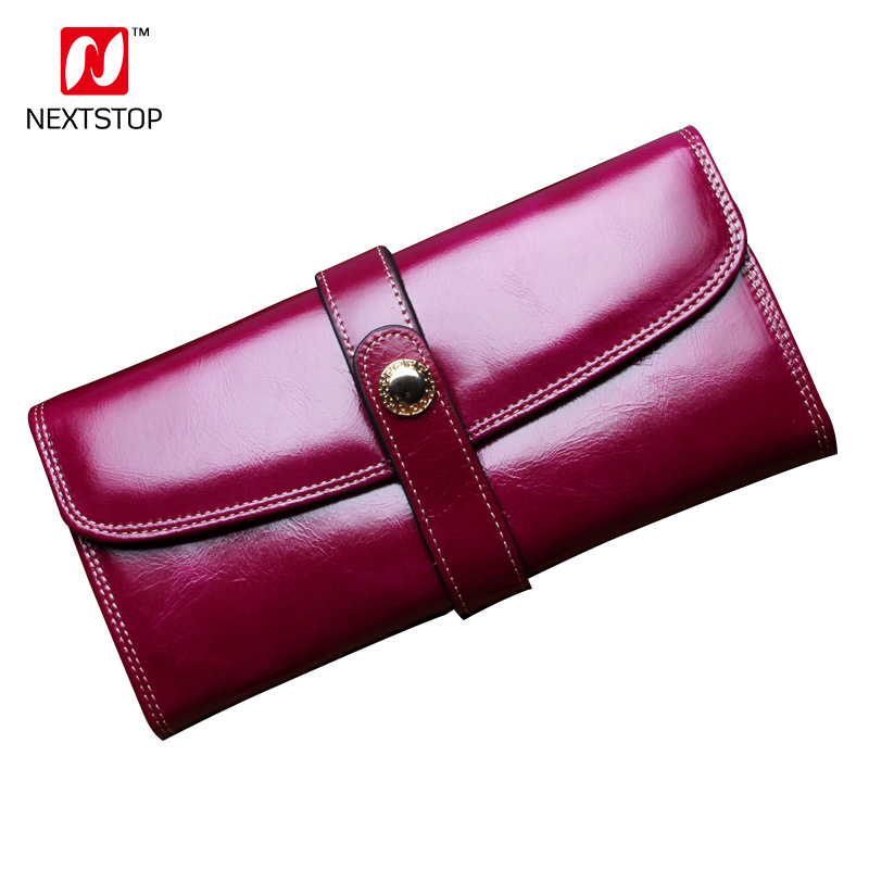 NEXTSTOP Women Clutch 2018 New Wallet Real Leather Wallet Female Long Wallet Women Hasp Purse Strap Coin Purse For iPhone7 N8802