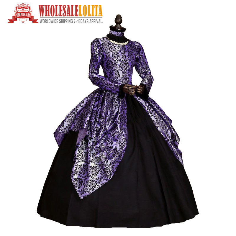 Home Selfless Gothic Blue And Black Floral Printing 18th Century Marie Antoinette Dress Ball Gown Reenactment Theatre Clothing Moderate Price
