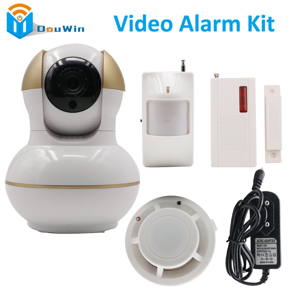 Ip camera Video alarm wireless wifi kit 720P 1280*720 f:3.6mm wireless infrared Monitor power adapter smoke detector DIY Kit