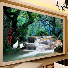 Custom 3d wallpaper HD fantasy forest waterfall world wonderland background wall painting